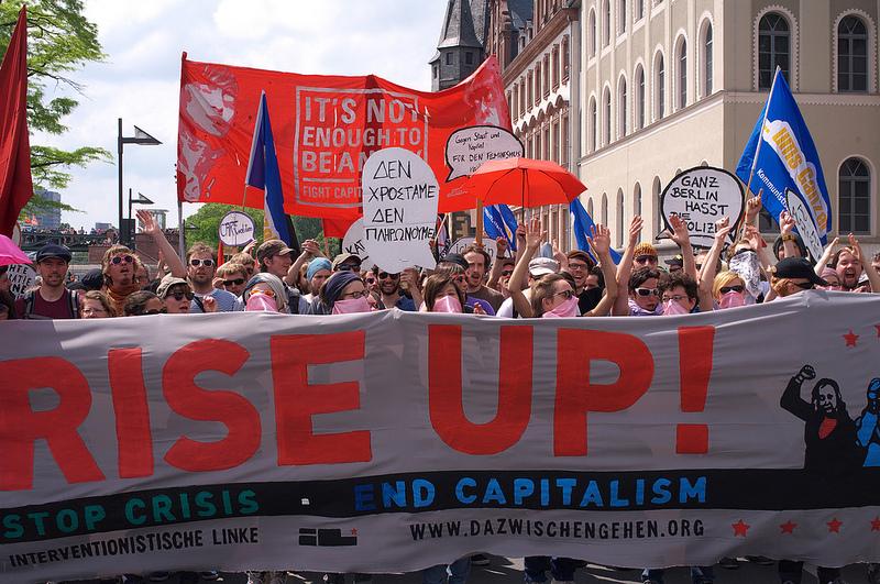 Antikapitalistischer Block bei der Blockupy Demo
